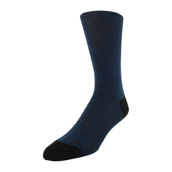 Herringbone Patterned Men's Dress Socks - Black - FINAL SALE