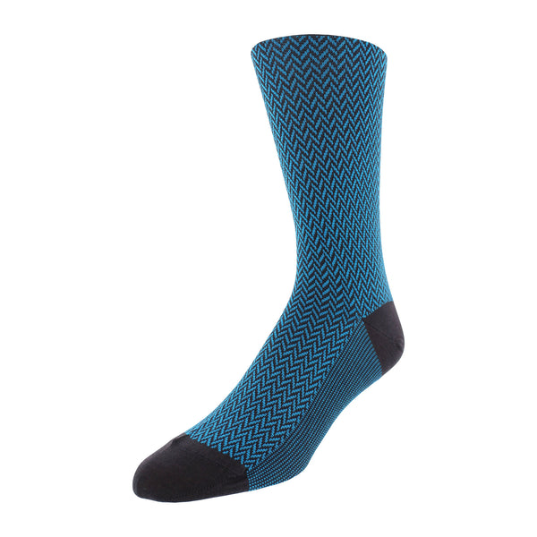 Herringbone Patterned Men's Dress Socks - Charcoal