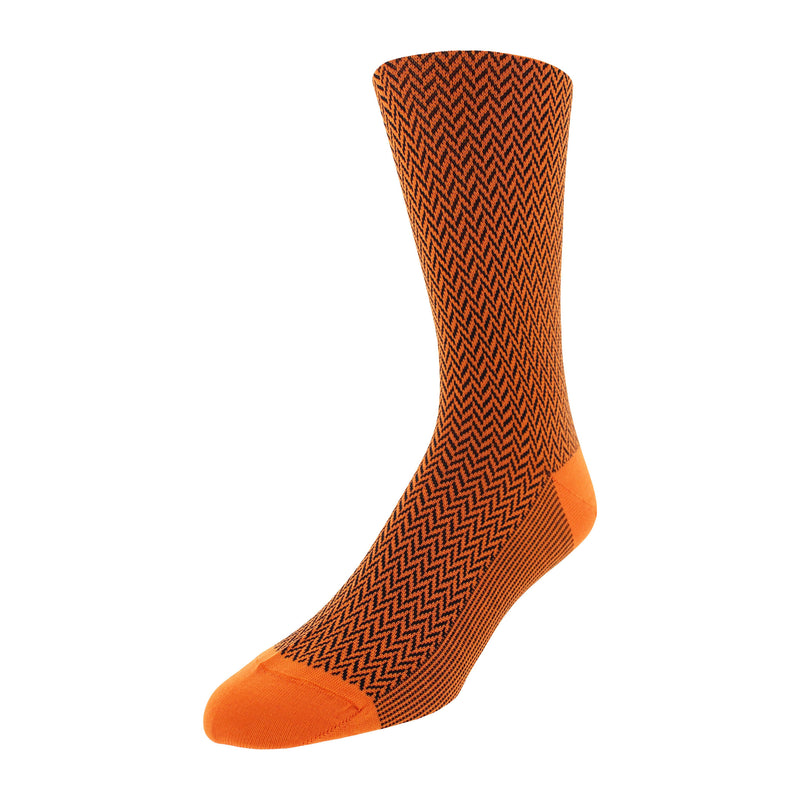 Herringbone Patterned Men's Dress Socks - Orange
