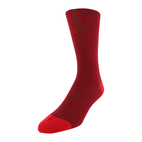 Herringbone Patterned Men's Dress Socks - Red