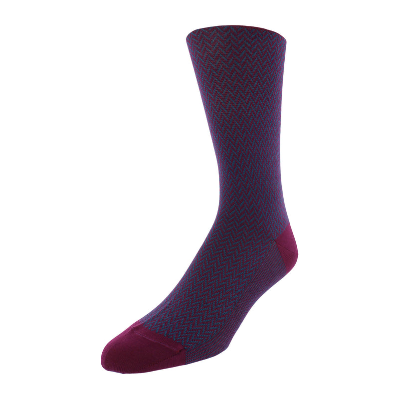 Herringbone Patterned Men's Dress Socks - Wine