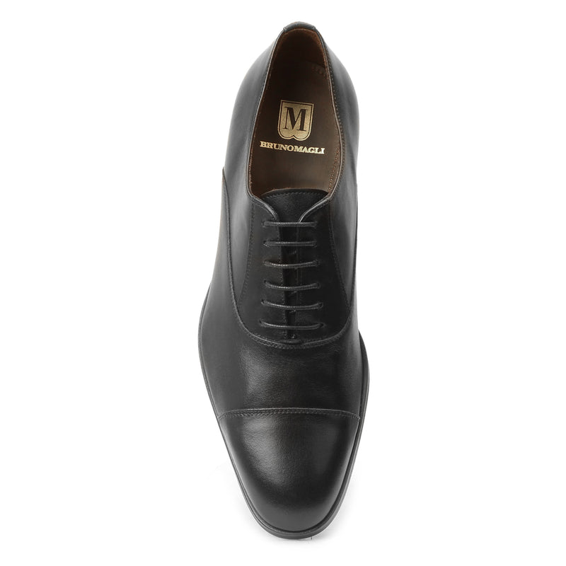 Caymen Leather Oxford Lace-Up - Black