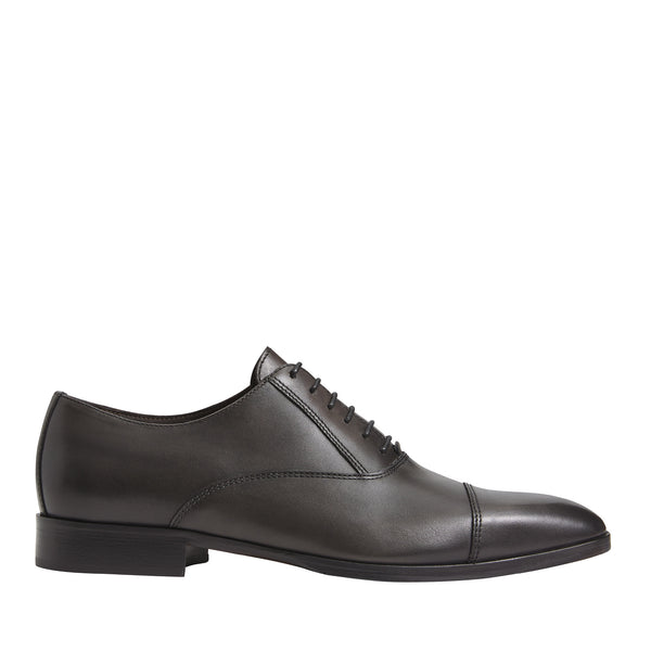 Caymen Leather Oxford Lace-Up - Dark Grey