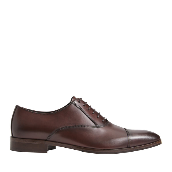 Caymen Leather Oxford Lace-Up - Rust