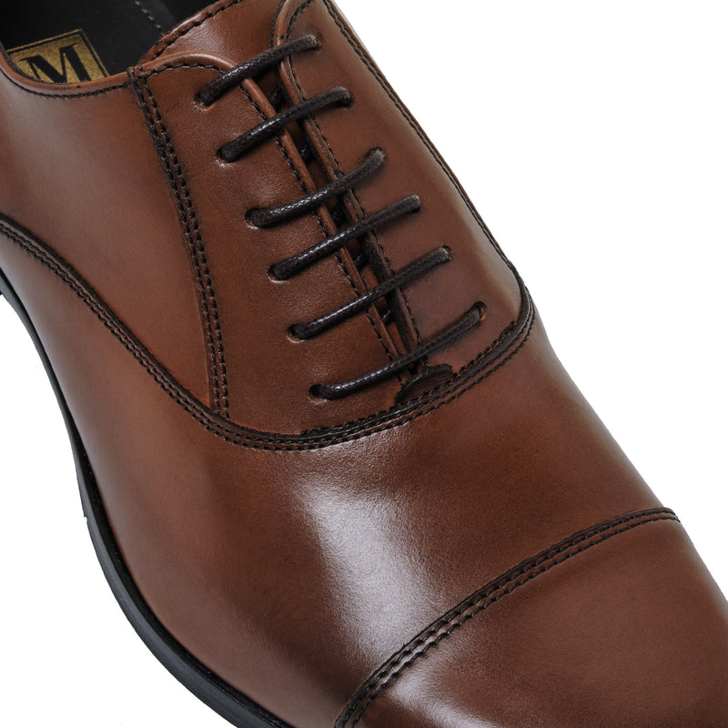 Caymen Leather Oxford Lace-Up - Whiskey