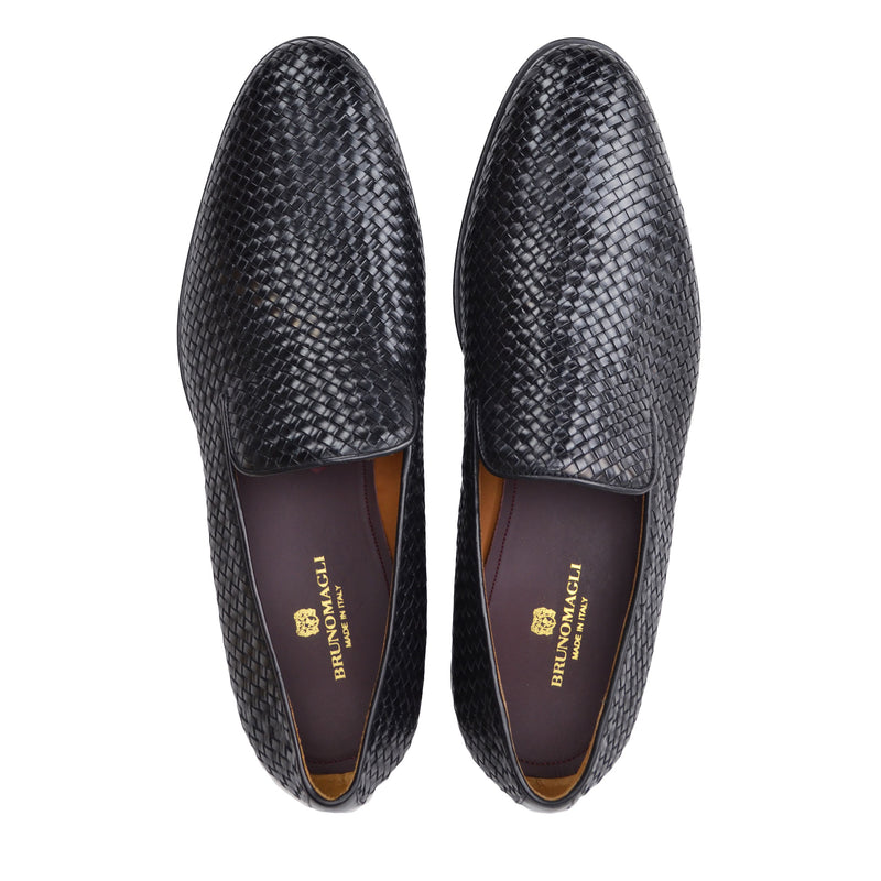 Picasso Woven Leather Slip-On - Black Woven Leather