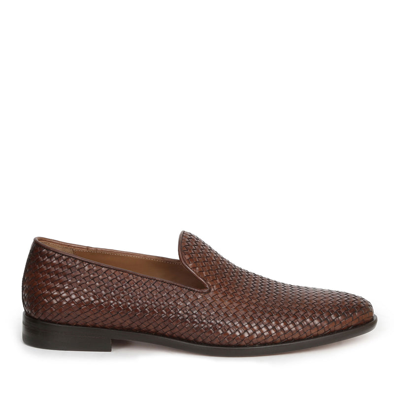 Picasso Woven Leather Slip-On - Cognac Woven Leather