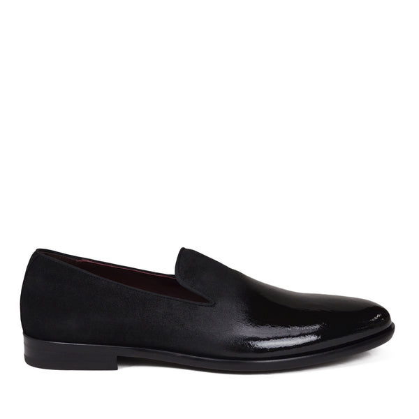 Picasso Suede & Patent Leather Slip-On - Black