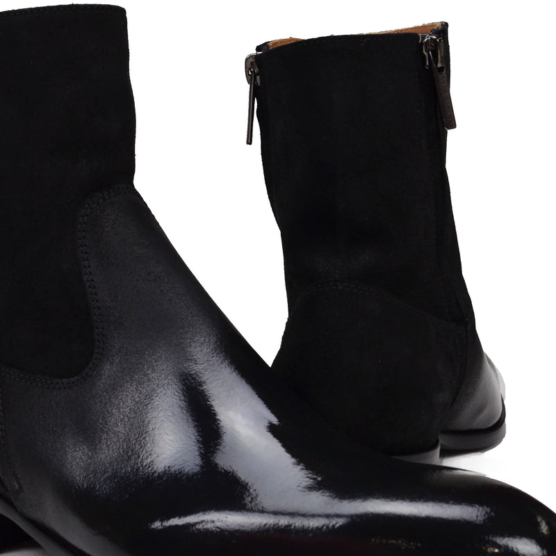 Risoli Suede & Patent Leather Boot - Black Suede/Black Patent Leather