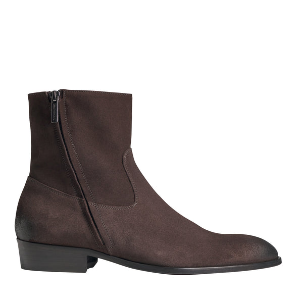 Risoli Suede Cuban-Heel Boot - Dark Brown