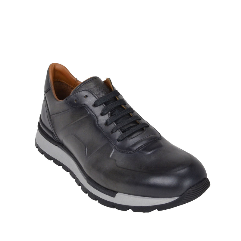 Davio Hand-Burnished Leather Sneaker - Grey Leather