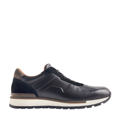Davio Hand-Burnished Leather Sneaker - Black