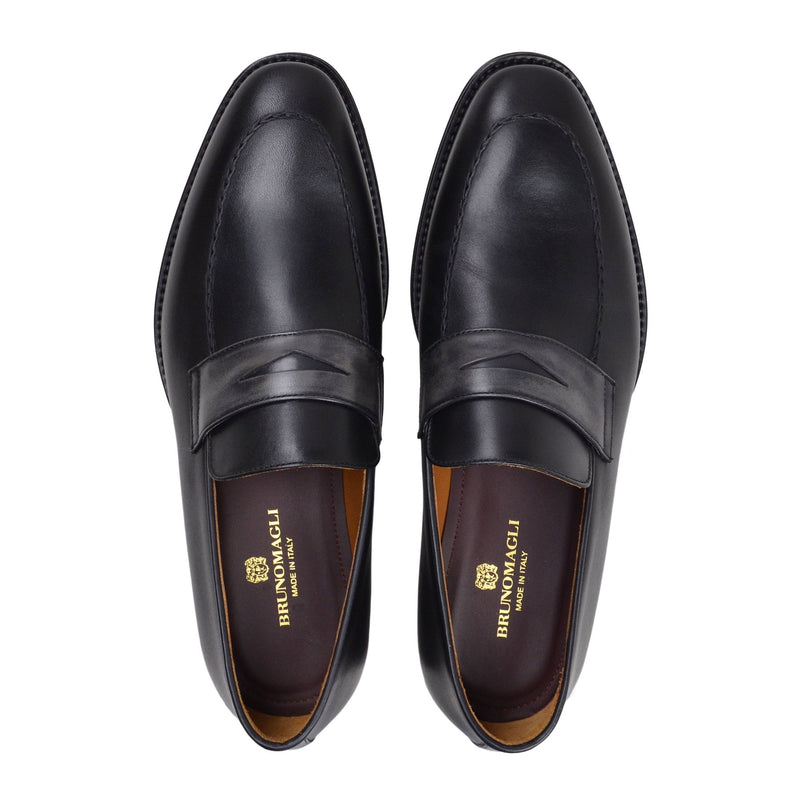Fanetta Two-Tone Leather Penny Loafer - Black/Grey Leather