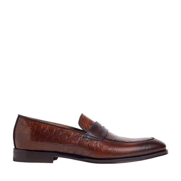 Fanetta Croc Printed Penny Loafer - Cognac
