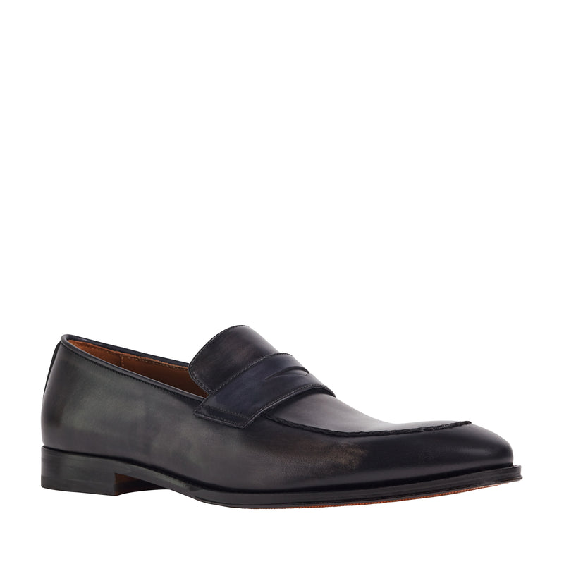 Fanetta Two-Tone Leather Penny Loafer - Grey/Navy