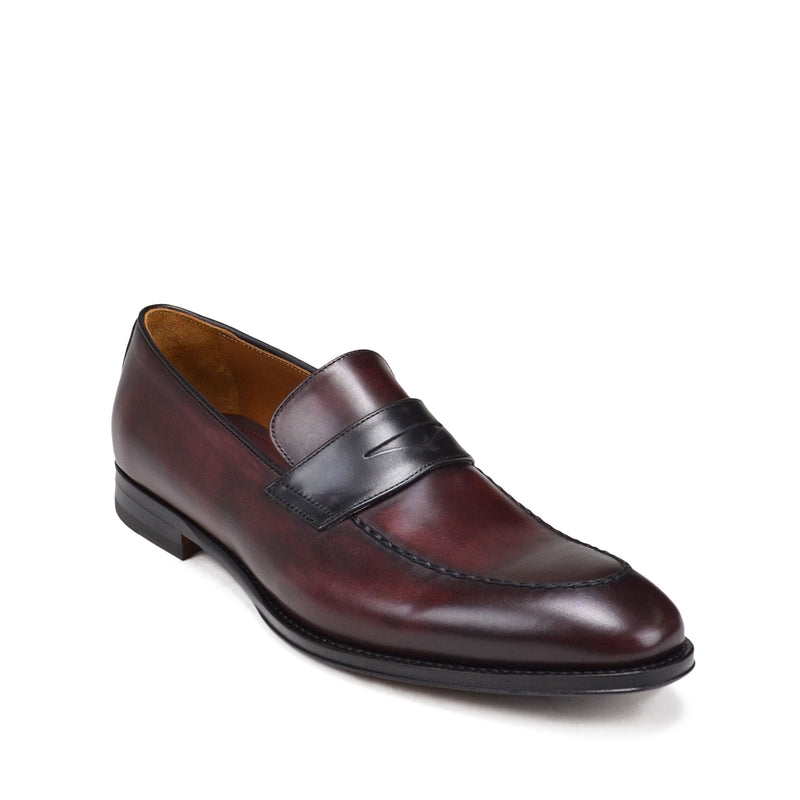 Fanetta Two-Tone Leather Penny Loafer - Bordo/Black Leather