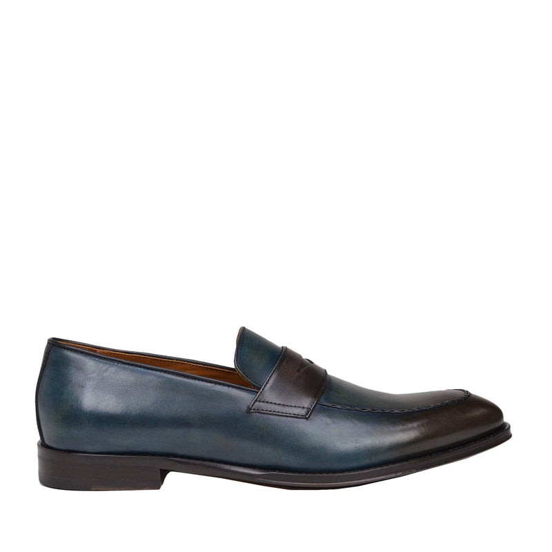 Fanetta Two-Tone Leather Penny Loafer - Blue/Dark Brown Leather
