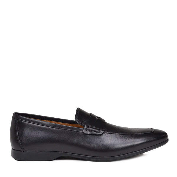 Margot Calf-Leather Penny Loafer - Black Leather