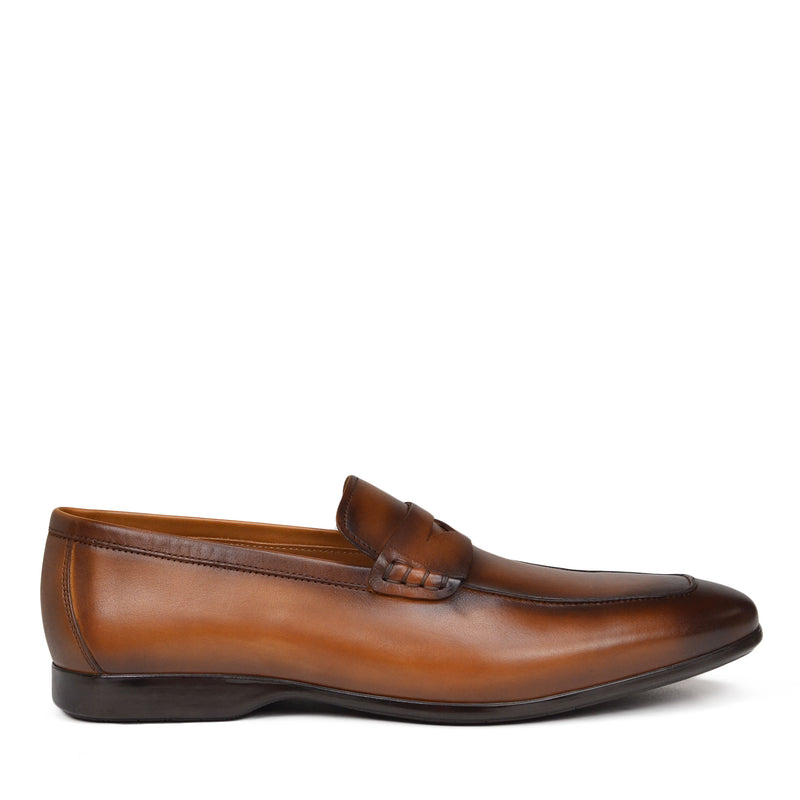 Margot Calf-Leather Penny Loafer - Cognac Leather