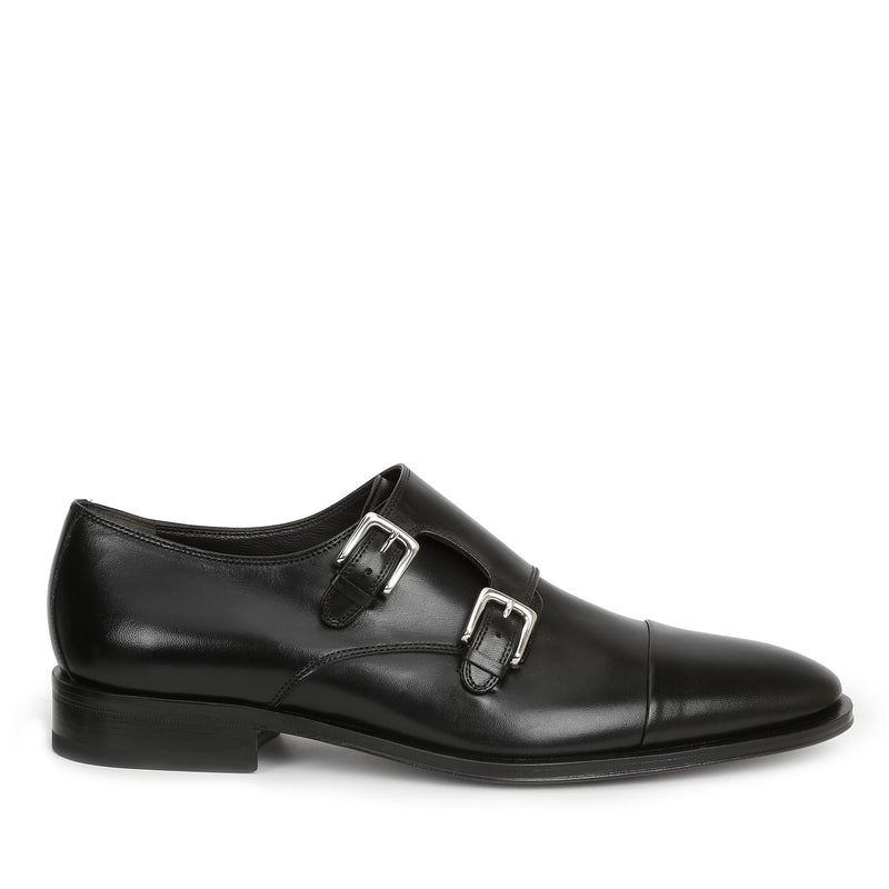 Mico Leather Monk Strap - Black Leather