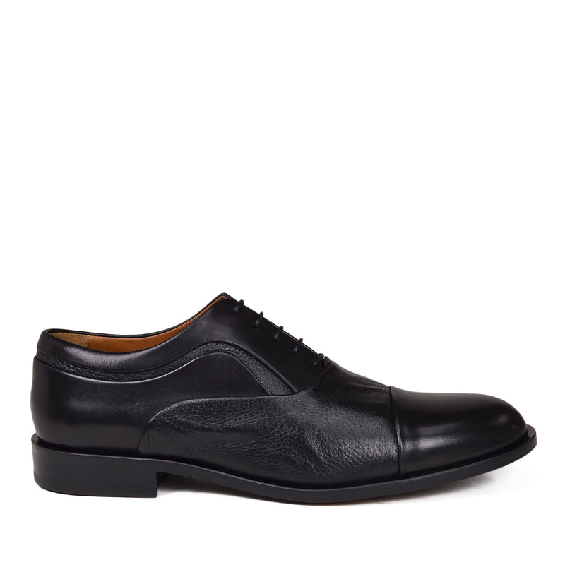 Sassiolo Lace-Up in Leather / Deerskin - Black Leather