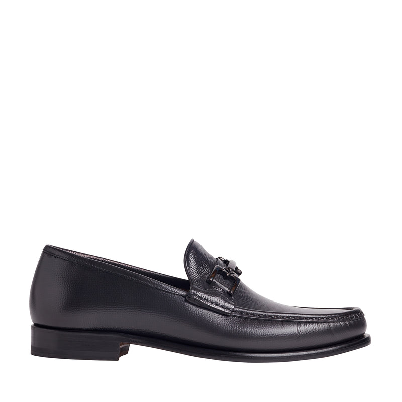 Enzo Pebbled Leather Bit Loafer - Dark Grey