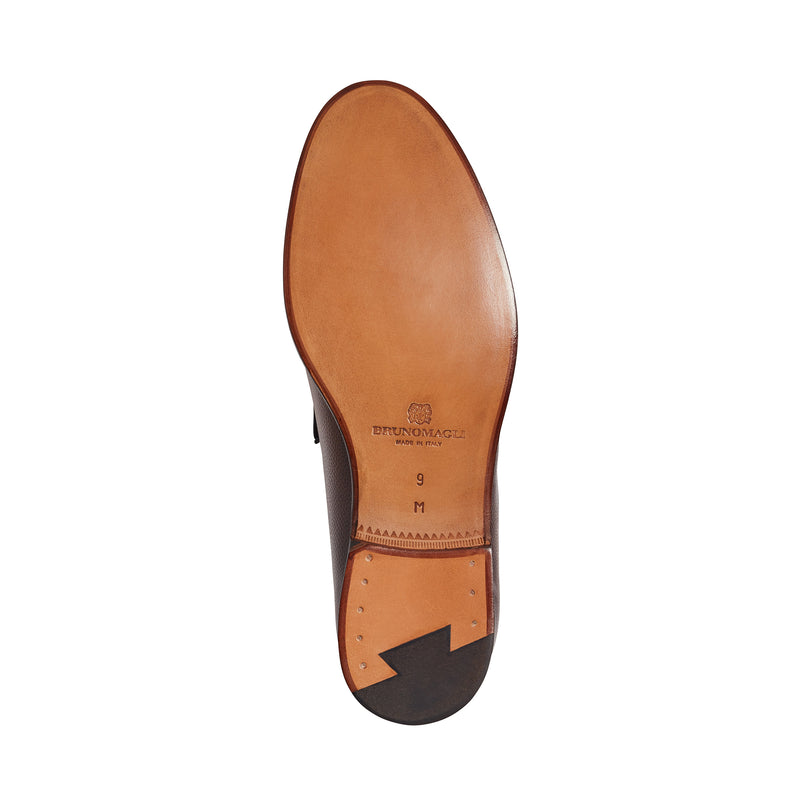 Enzo Pebbled Leather Bit Loafer - Whiskey