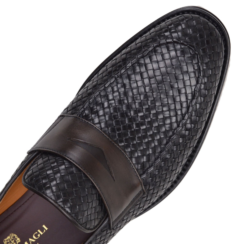 Fanetta Woven Leather Penny Loafer - Black/Dark Brown Woven Leather