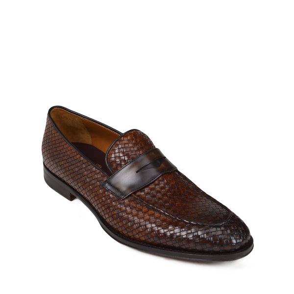 Fanetta Woven Leather Penny Loafer - Cognac/Dark Brown Woven Leather