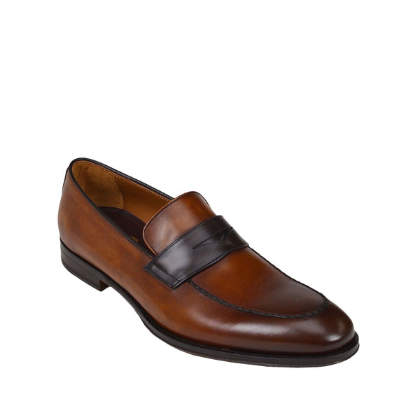 Fanetta Two-Tone Leather Penny Loafer - Cognac/Dark Brown Leather