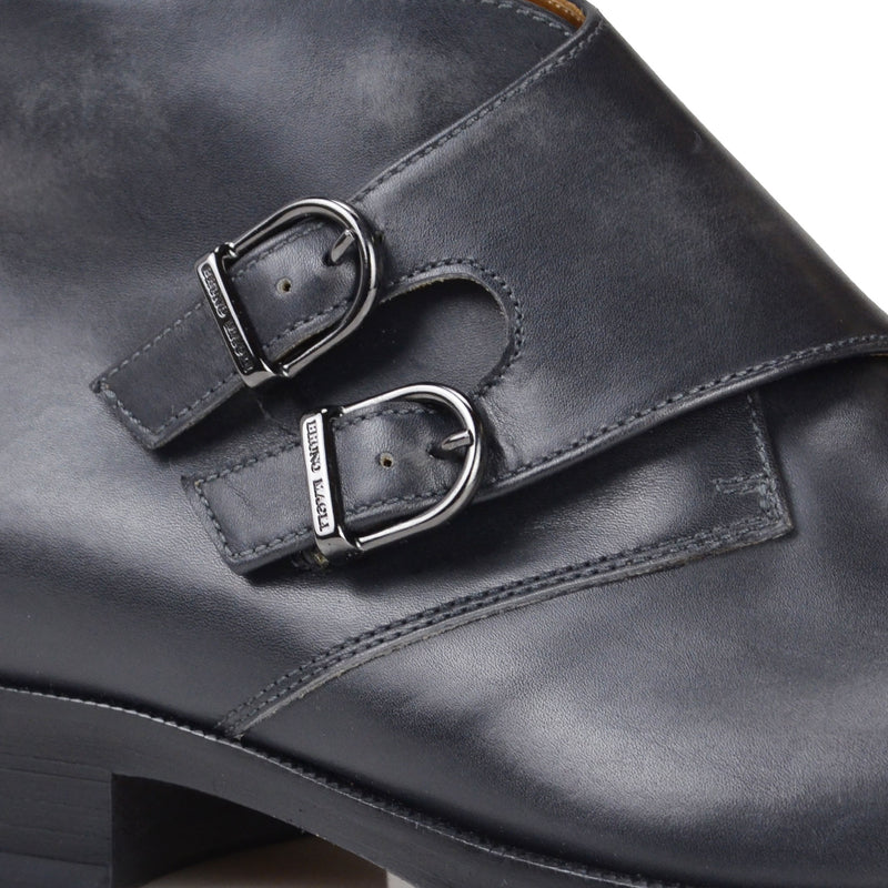 Alberto Leather Monk-Strap Boot - Dark Grey Leather
