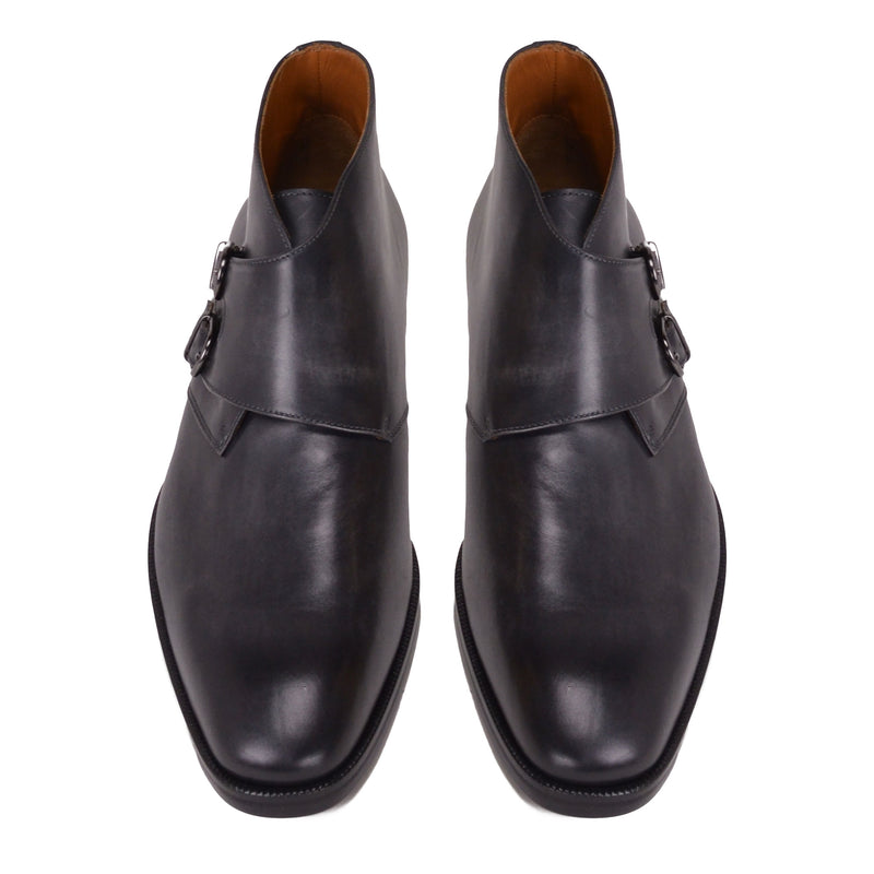 Alberto Leather Monk-Strap Boot - Dark Grey Leather - FINAL SALE
