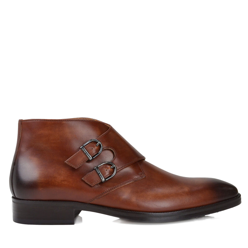 Alberto Leather Monk-Strap Boot - Cognac Leather