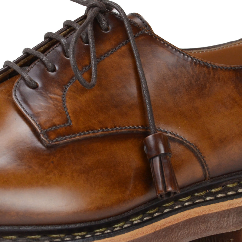 Caslano Leather Cap-Toe Derby - Cognac