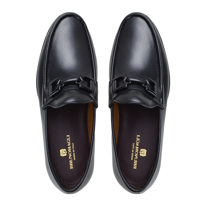 Falcone Leather Moc-Toe Bit Loafer - Black