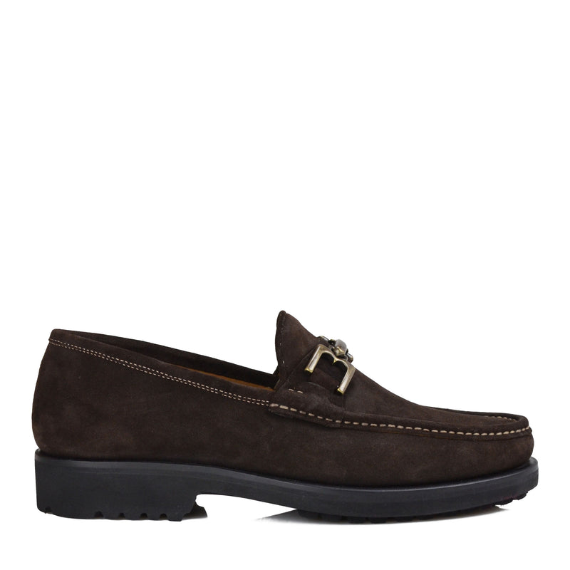 Falcone Suede Moc-Toe Bit Loafer - Dark Brown