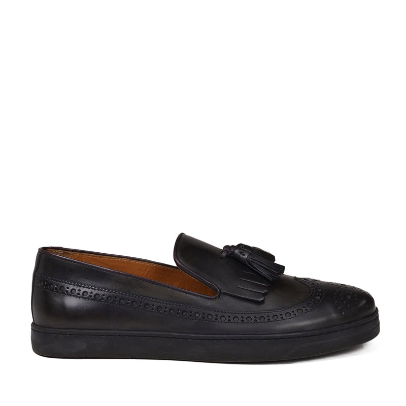 Oliverio Wingtip Sport Slip-On - Dark Grey Leather