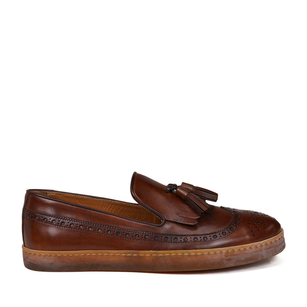 Oliverio Wingtip Sport Slip-On - Cognac Leather