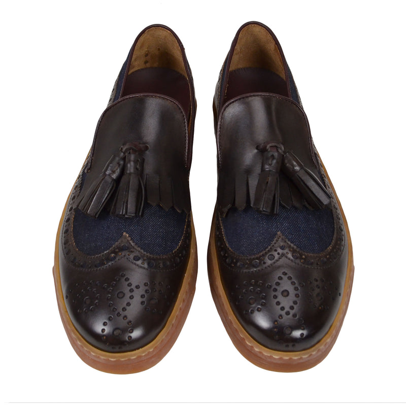 Oliverio Wingtip Sport Slip-On - Dark Brown Leather/Denim