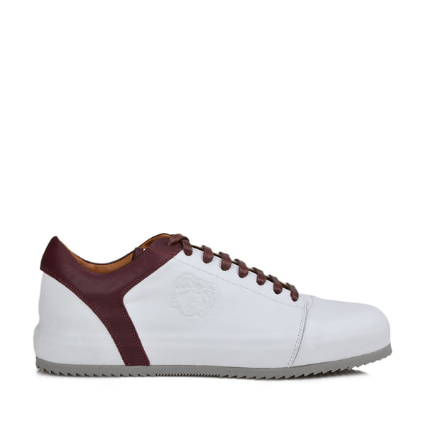Santana Cap-Toe Lace-up Sneaker - Bordo/White Leather