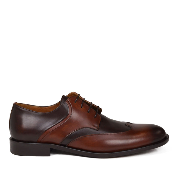 Salvatore Wingtip Derby Shoe - Whiskey Leather
