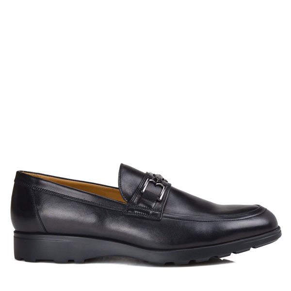 Vincenzo Leather Bit Loafer with Rubber Sole - Black