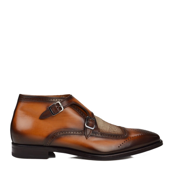 Carlo Leather & Linen Monk-Strap Ankle Boot - Cognac/Linen