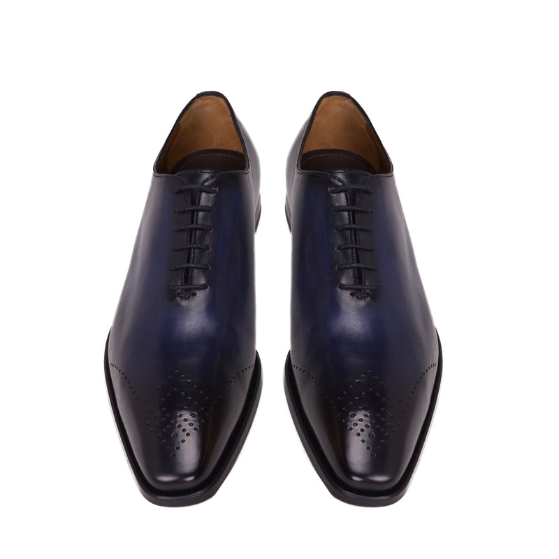 Claudio Leather Eyelet-Toe Oxford - Blue