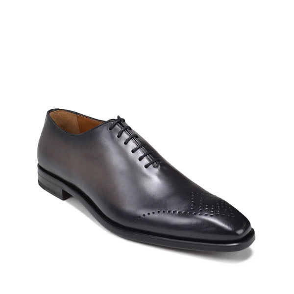 Claudio Leather Eyelet-Toe Oxford - Dark Grey