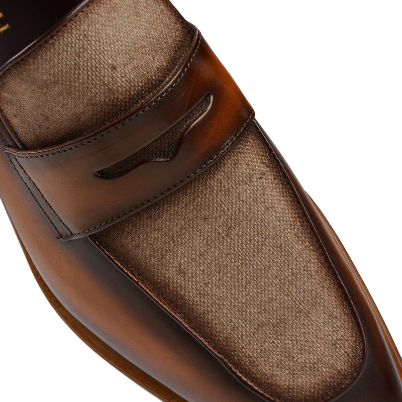Corrado Leather & Linen Penny Loafer - Cognac/Linen