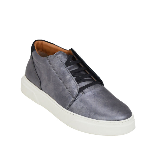 Phoster Metallic Leather Lace-up Sneakers - Pewter