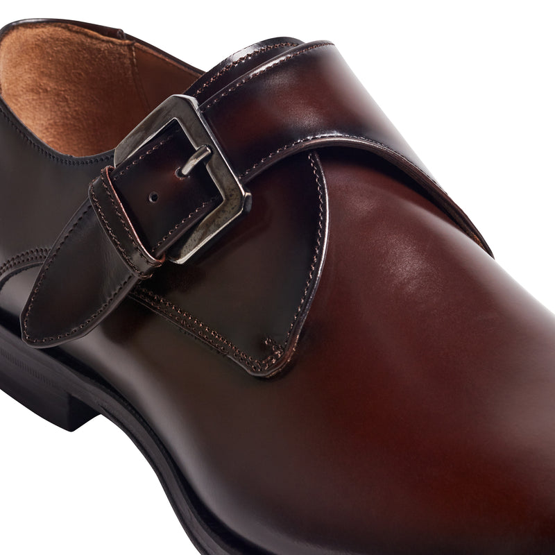 Lucio Monk-Strap Shoe - Dark Brown Leather