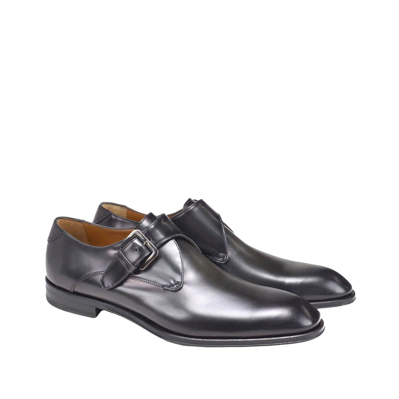 Lucio Monk-Strap Shoe - Dark Grey Leather
