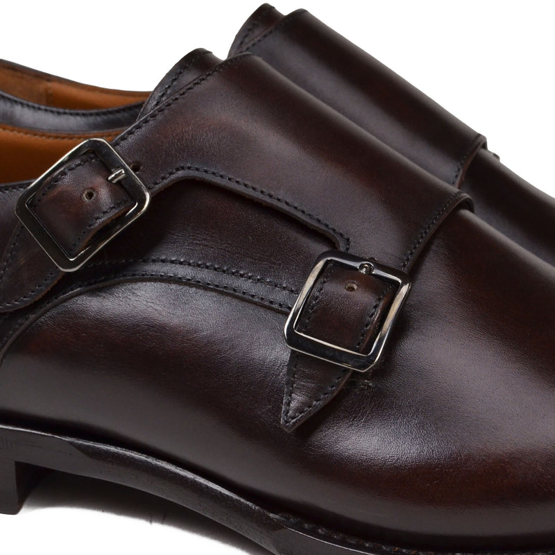 Tedesco Leather Monk Strap - Dark Brown Leather